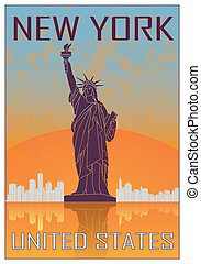 New York vintage poster in orange and blue textured...