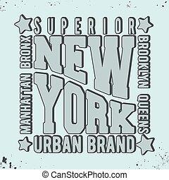 New York vintage stamp