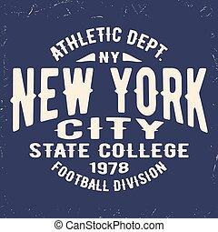 New York vintage stamp - T-shirt print design. New York...