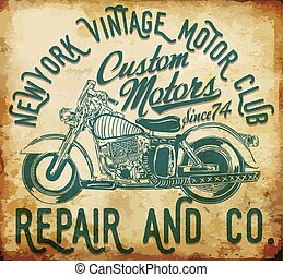 new york vintage t-shirt graphic motorcycle club