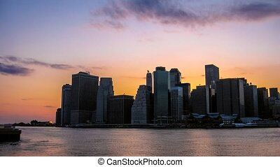 New York waterfront at sunset