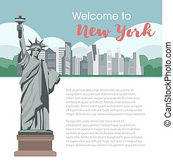 New York welcome poster for America travel tourism vector landmarks