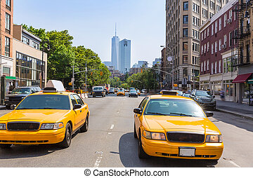 New York West Village in Manhattan yellow cab taxi NYC USA