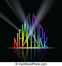 New York word in shape of the city