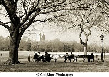 Central Park - New Yorkers sitting on the bench in Central...