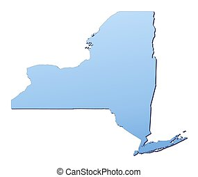 New York(USA) map filled with light blue gradient. High...