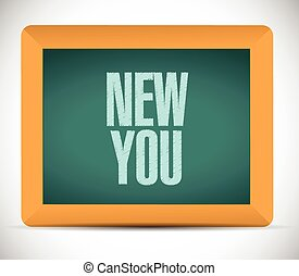 new you sign on a board illustration