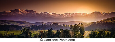 Panorama of beautiful Alps in New Zealand South Island