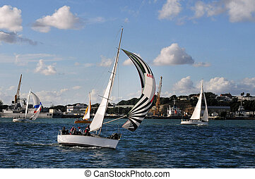 New Zealand Auckland Devonport - Yachts sail in Auckland...