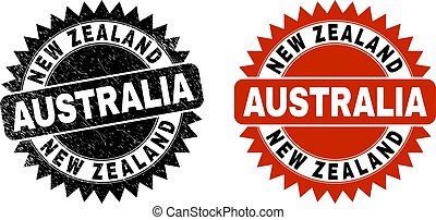 NEW ZEALAND AUSTRALIA Black Rosette Stamp Seal with Unclean Style