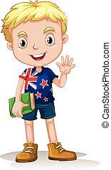 New Zealand boy carrying a book