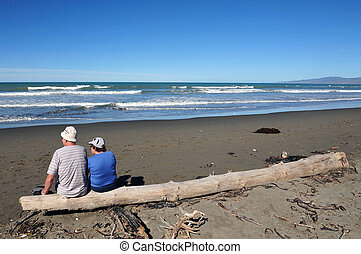 New Zealand Christchurch - People enjoy the sea and sand at ...