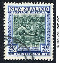 Treaty of Waitangi - NEW ZEALAND - CIRCA 1940: stamp printed...