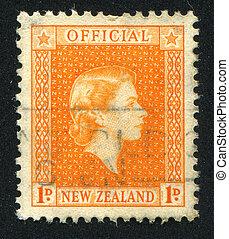 queen Elizabeth II - NEW ZEALAND - CIRCA 1947: stamp printed...