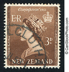 NEW ZEALAND - CIRCA 1952: stamp printed by New Zealand, shows shows queen Elizabeth II, circa 1952
