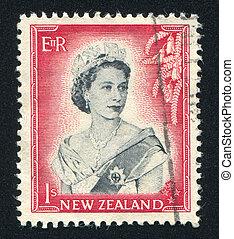 queen Elizabeth II - NEW ZEALAND - CIRCA 1953: stamp printed...