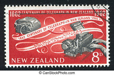 NEW ZEALAND - CIRCA 1962: stamp printed by New Zealand, shows Teleprinter and tape, circa 1962