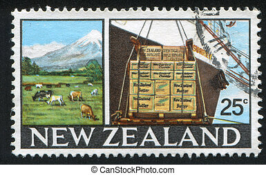 dairy product in box - NEW ZEALAND - CIRCA 1968: stamp ...