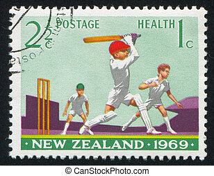 Boys Playing Cricket - NEW ZEALAND - CIRCA 1969: stamp...