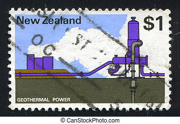 Geothermal power plant - NEW ZEALAND - CIRCA 1970: stamp...