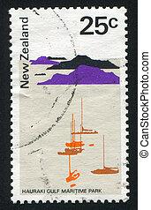 NEW ZEALAND - CIRCA 1971: stamp printed by New Zealand, shows Hauraki Gulf Maritime Park, circa 1971