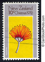 NEW ZEALAND — CIRCA 1972: stamp printed by New Zealand, shows tree pohutukawa, circa 1972