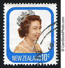 NEW ZEALAND - CIRCA 1977: stamp printed by New Zealand, shows shows queen Elizabeth II, circa 1977