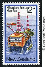 Gas Drilling Platform - NEW ZEALAND - CIRCA 1978: stamp...
