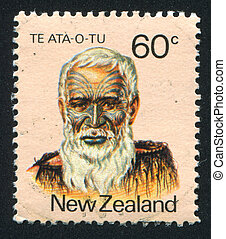 NEW ZEALAND - CIRCA 1980: stamp printed by New Zealand, shows Maori Leader Hakopa Te Ata-o-tu, circa 1980