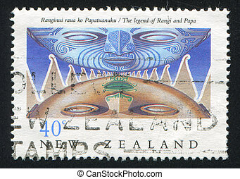 Legend of Rangi and Papa - NEW ZEALAND - CIRCA 1990: stamp...