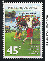 Golf Courses - NEW ZEALAND - CIRCA 1995: stamp printed by...