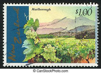 Marlborough Vineyards - NEW ZEALAND - CIRCA 1997: stamp ...