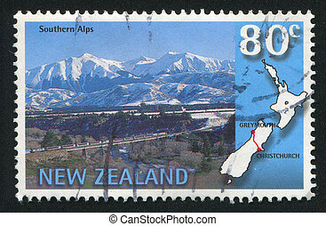 NEW ZEALAND - CIRCA 1997: stamp printed by New Zealand, shows Trans-Alpine scenic train, Southern Alps, Christchurch-Greymouth, circa 1997