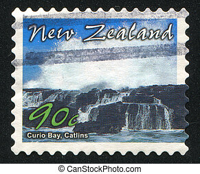 Curio Bay - NEW ZEALAND - CIRCA 2002: stamp printed by New...