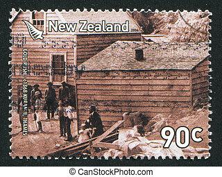 Gold Rush Miners - NEW ZEALAND - CIRCA 2006: stamp printed ...