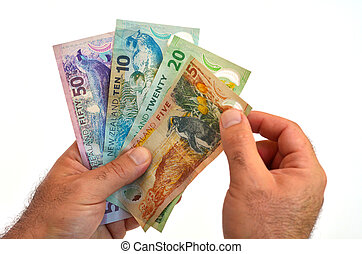 New Zealand Dollar banknotes - Man hands counts New Zealand...