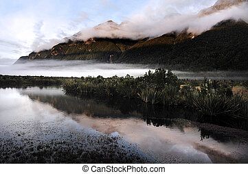 Landscape view of Fiordland National Park, southern Island, New Zealand.