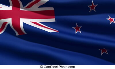 New Zealand flag, 3d animation. perfect seamless loop