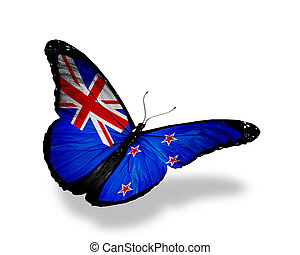 New Zealand flag butterfly flying, isolated on white...