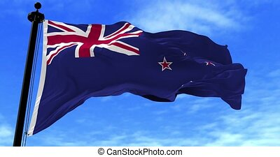 New Zealand Flag in the Wind