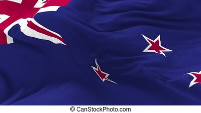 New Zealand Flag in the Wind - Close up New Zealand flag...