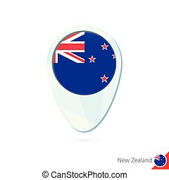 New Zealand flag location map pin icon on white background....