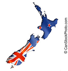 New Zealand flag map, three dimensional render, isolated on...