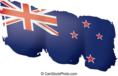 New Zealand flag, vector illustration on a white background.