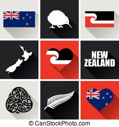 New Zealand Flat Icon Set 2 - Set of vector graphic flat...