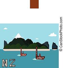 New Zealand landscape vector illustration postcard