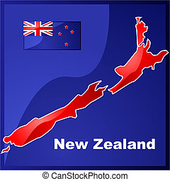 New Zealand map and flag
