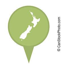 New Zealand map marker pin