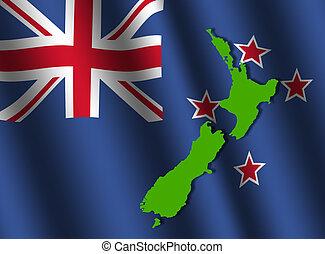New Zealand map on flag