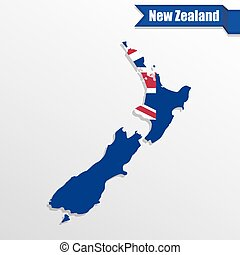 New Zealand map with flag inside and ribbon